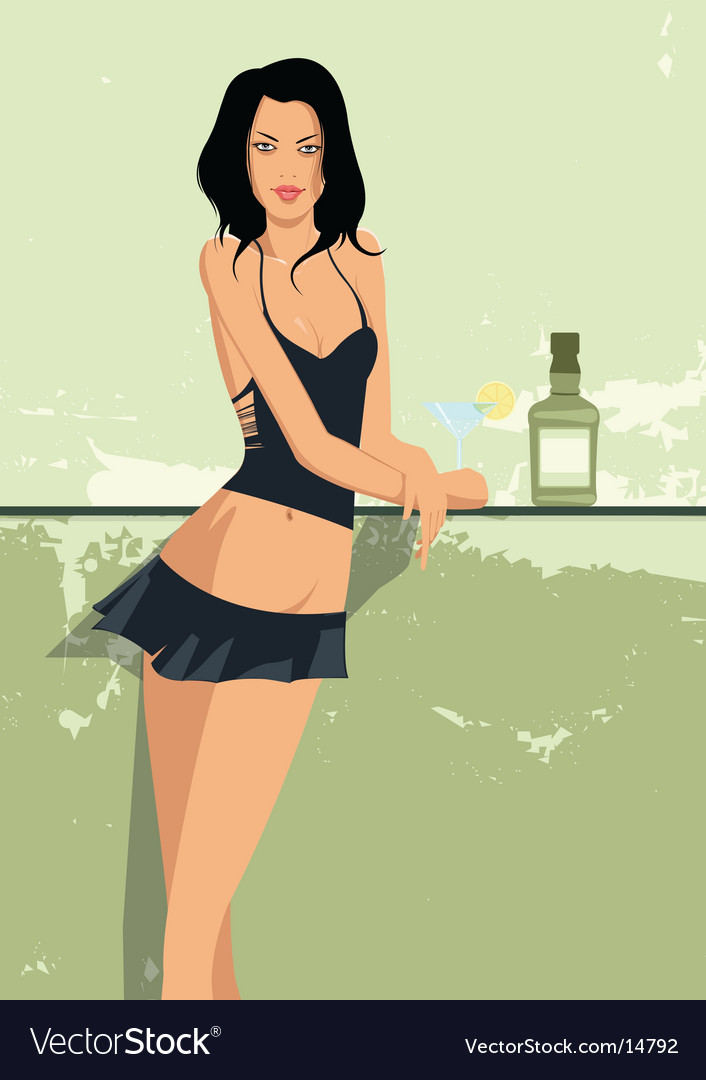 Sexy girl at bar vector | Price: 3 Credit (USD $3)