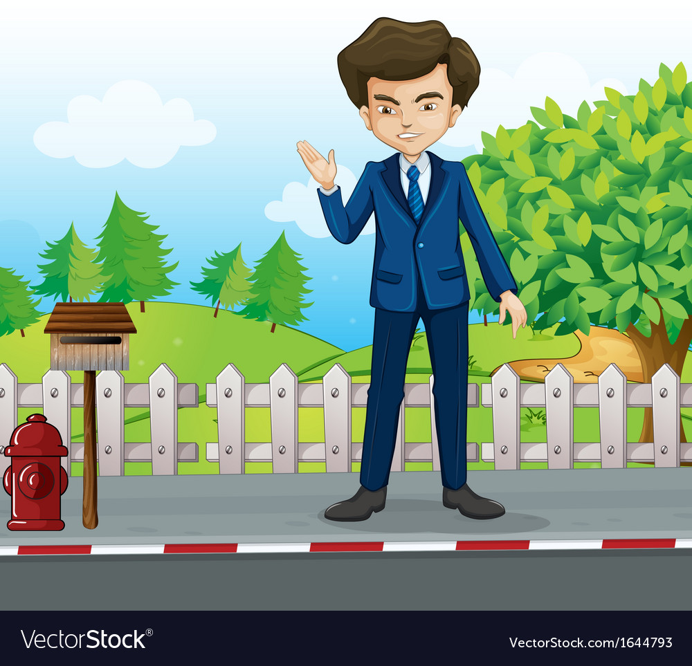 A businessman at the street standing near the vector | Price: 3 Credit (USD $3)