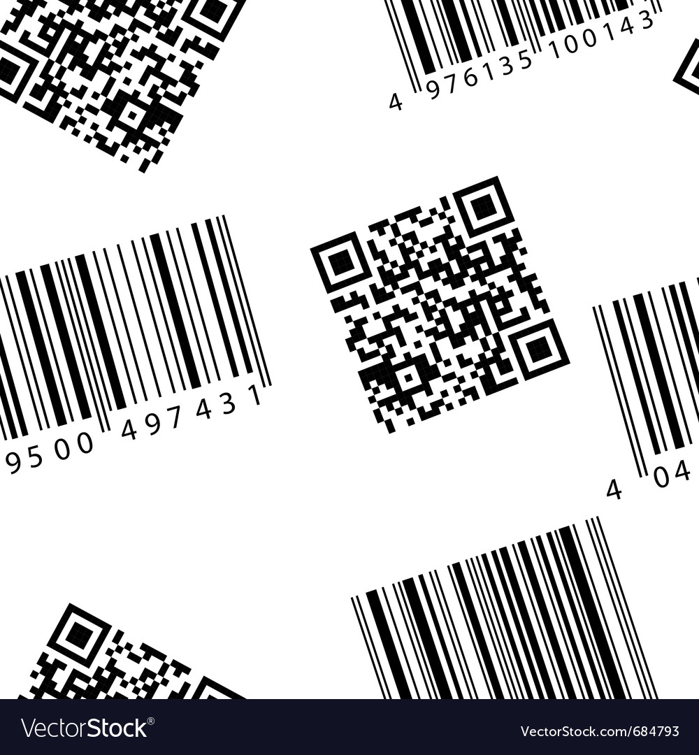 Barcode and qr-code seamless wallpaper vector | Price: 1 Credit (USD $1)