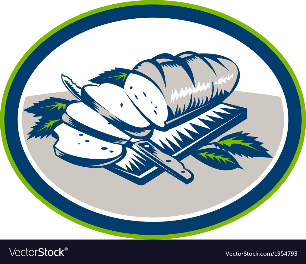 Bread loaf knife woodcut retro vector | Price: 1 Credit (USD $1)