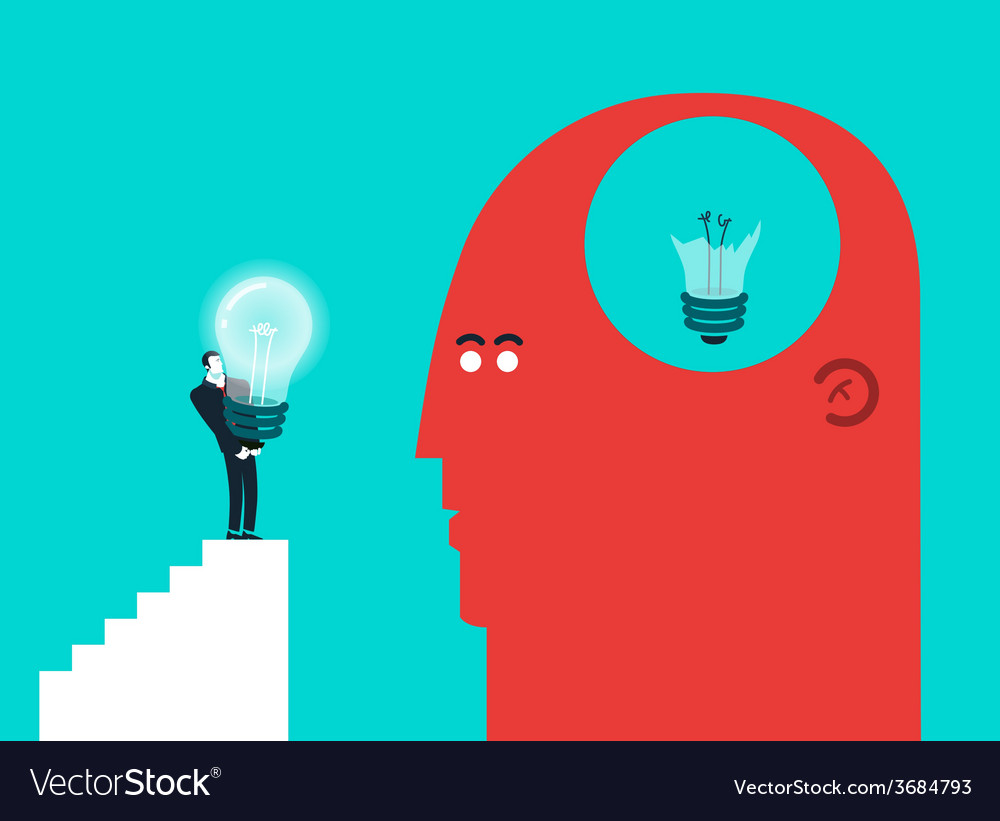 Concept of broken light bulb and gift - modern vector | Price: 1 Credit (USD $1)
