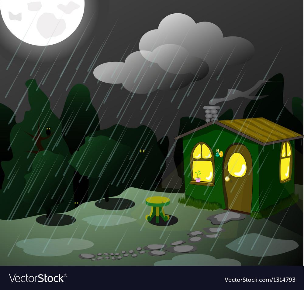 Fantastic green lodge at night vector | Price: 1 Credit (USD $1)