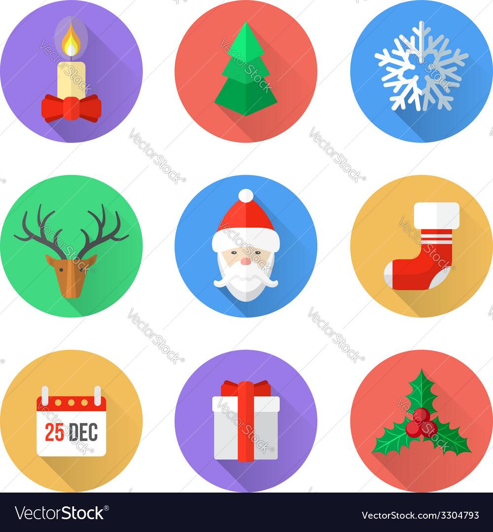 Flat design christmas icons set vector | Price: 1 Credit (USD $1)