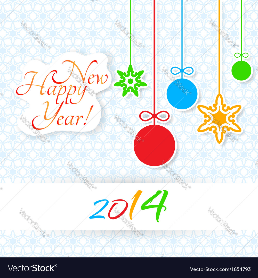 Happy new year lettering greeting card vector | Price: 1 Credit (USD $1)