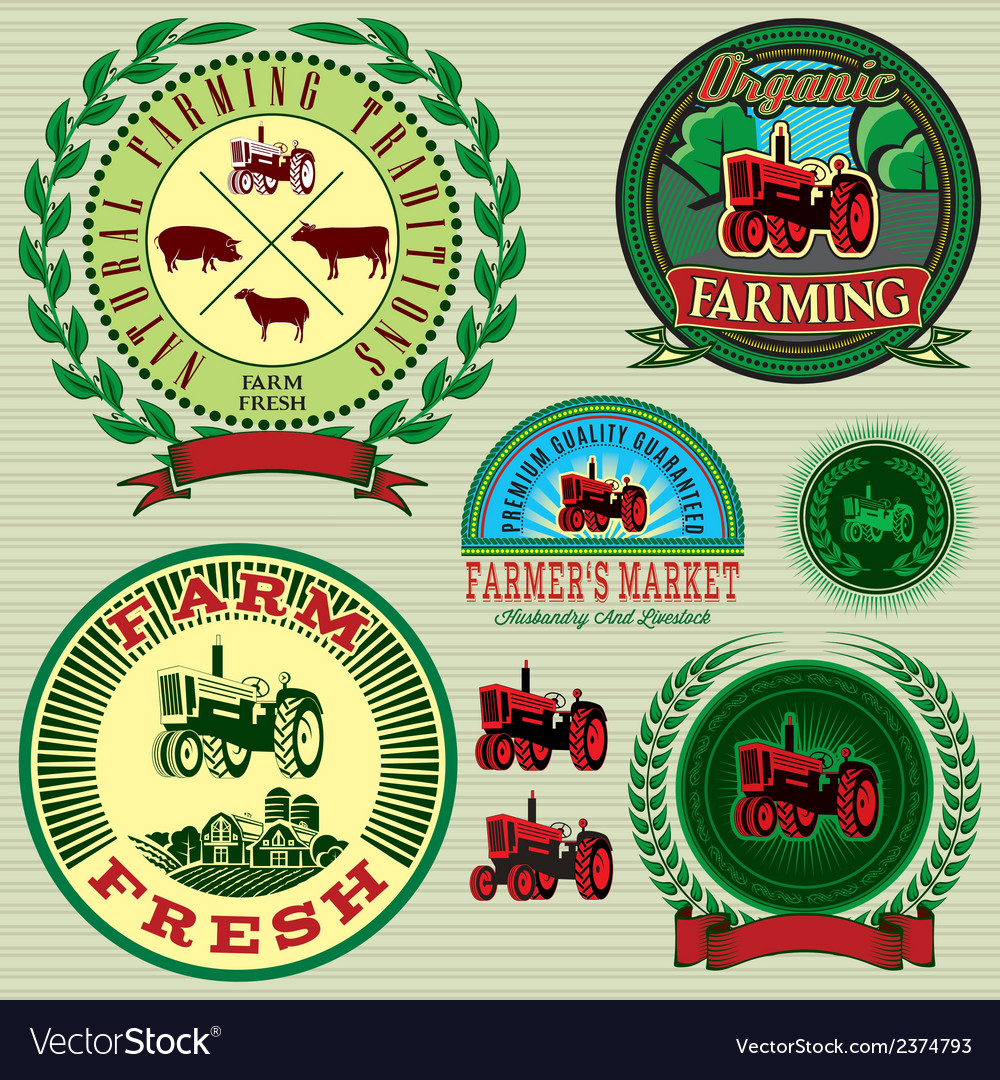 Icons on vintage background pig cow sheep goat vector   Price: 1 Credit (USD $1)