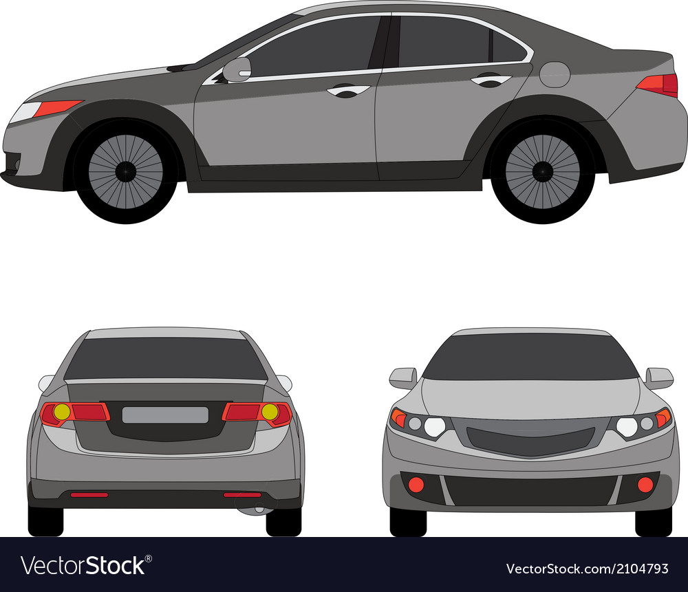 Large sport sedan three side view vector | Price: 1 Credit (USD $1)