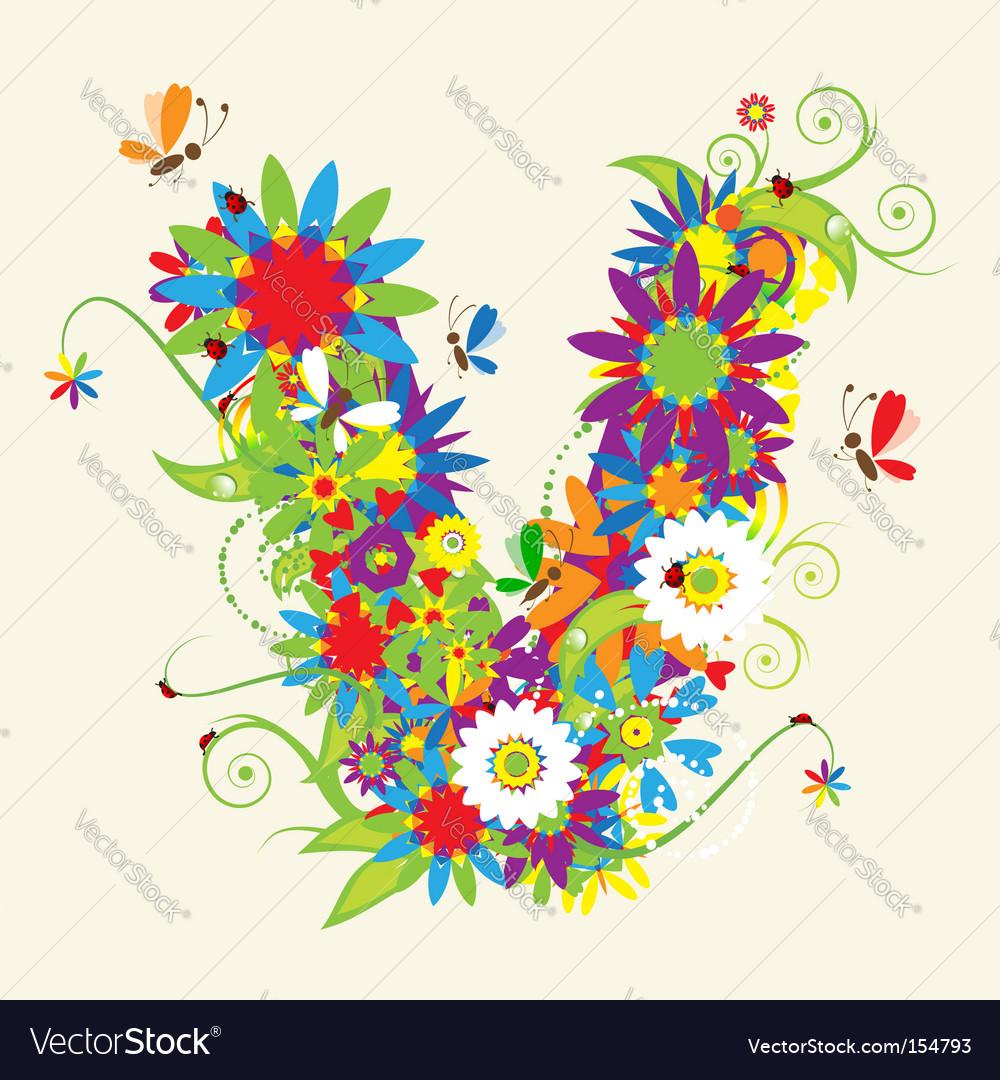 Letter v floral design vector | Price: 1 Credit (USD $1)