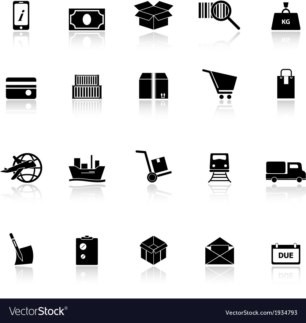 Shipment icons with reflect on white background vector | Price: 1 Credit (USD $1)