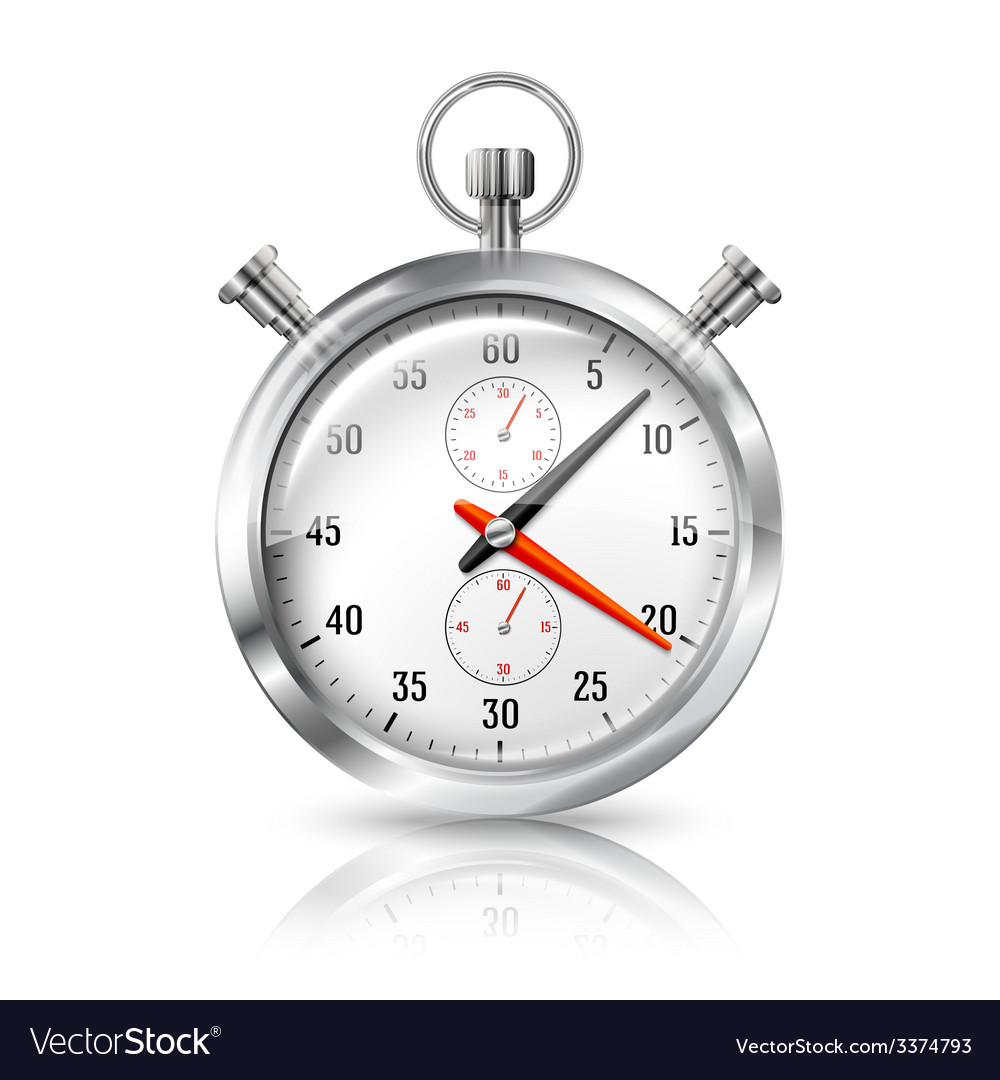 Silver bright stopwatch clock with reflection vector   Price: 3 Credit (USD $3)