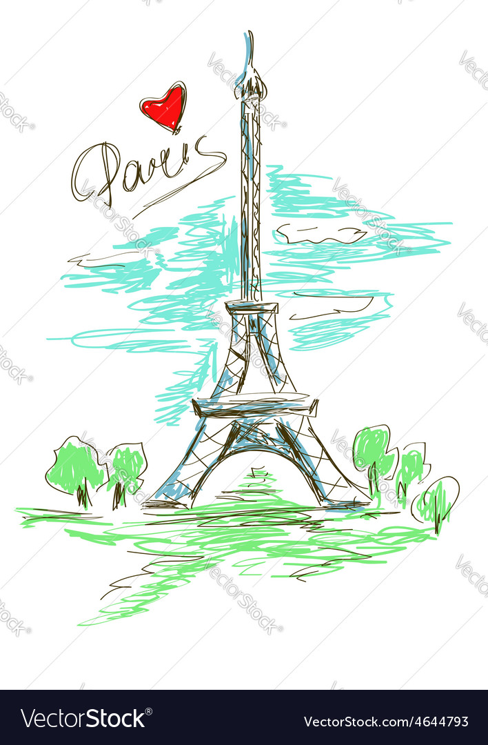 Sketch of eiffel tower vector | Price: 1 Credit (USD $1)