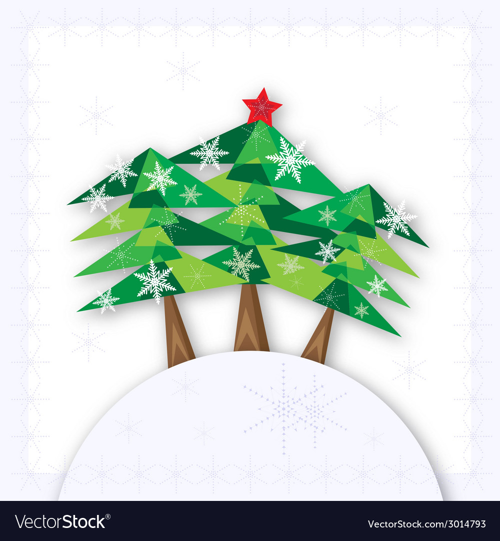 Three green christmas fir trees on the hill on vector | Price: 1 Credit (USD $1)