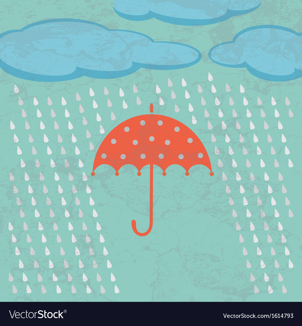 Umbrella clouds and rain drops vector | Price: 1 Credit (USD $1)
