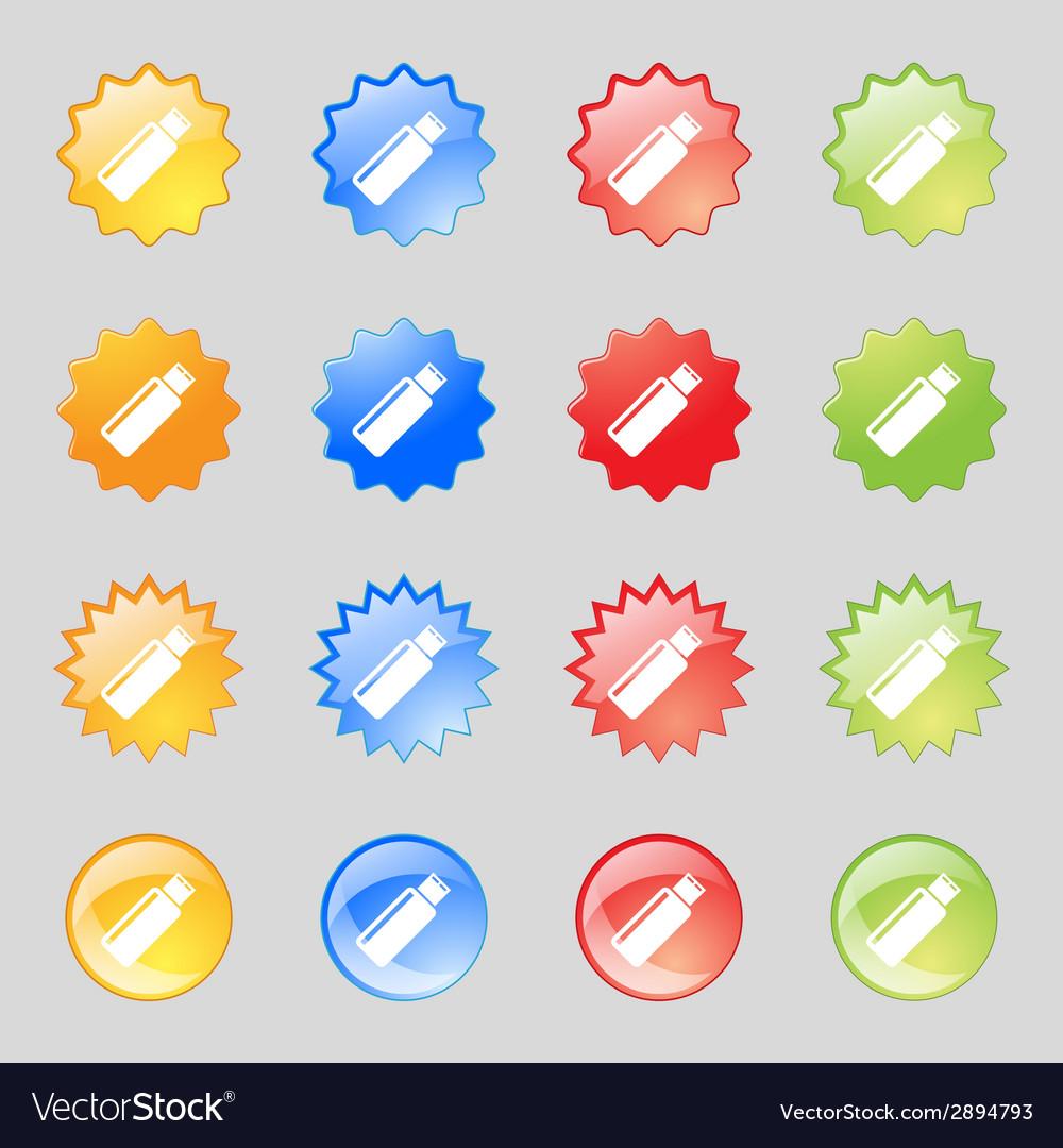 Usb sign icon flash drive stick symbol set vector | Price: 1 Credit (USD $1)