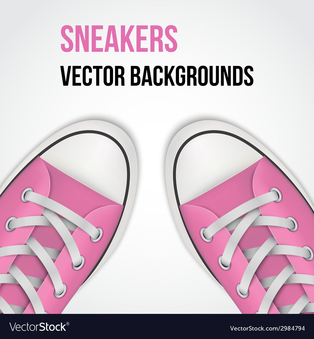 Background of simple pink classic sneakers vector | Price: 1 Credit (USD $1)