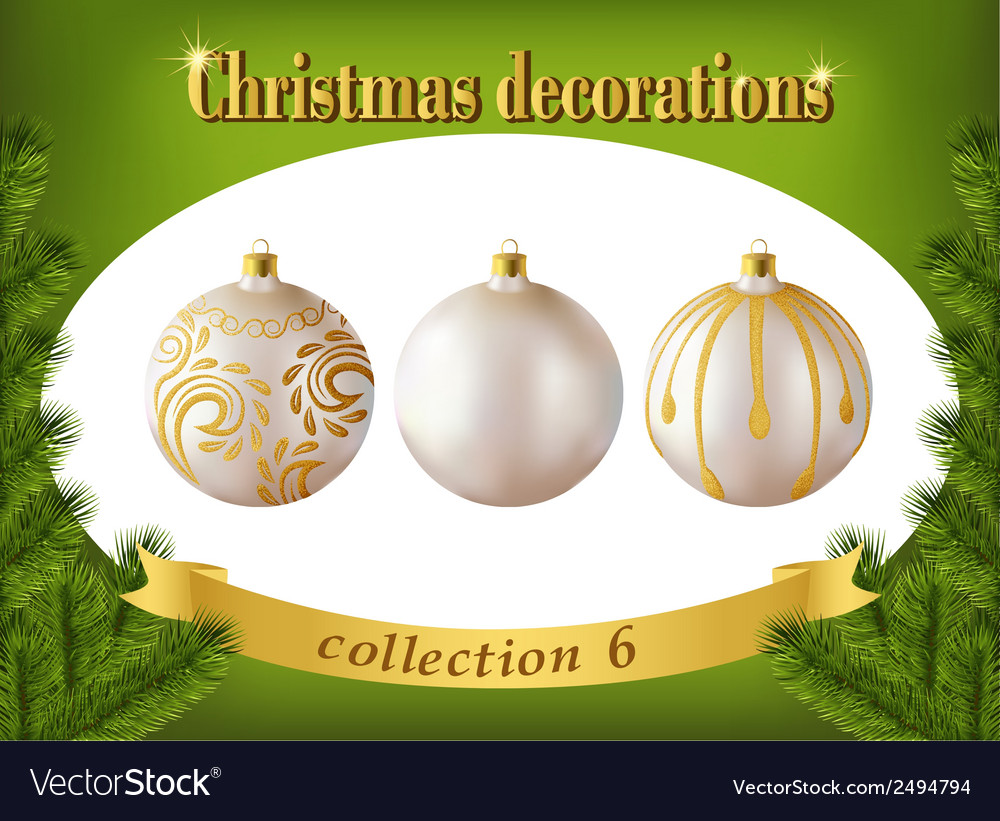 Christmas decorations collection of white glass vector | Price: 1 Credit (USD $1)