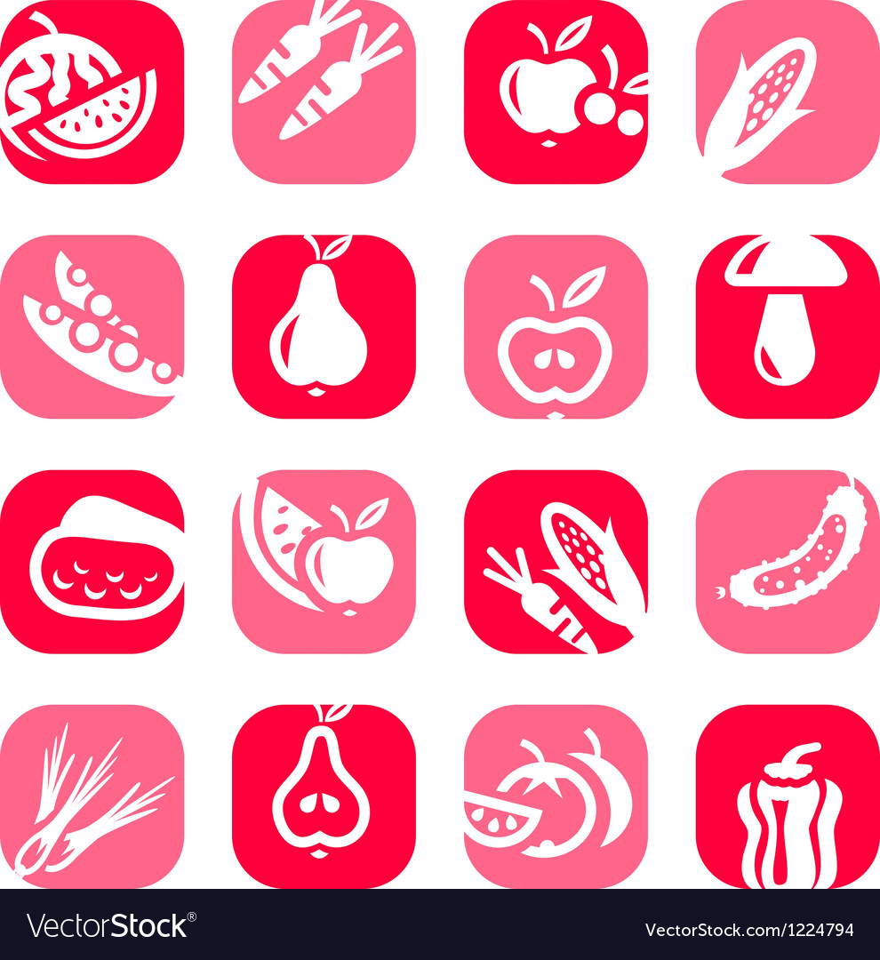 Color fruit and vegetables icons vector | Price: 1 Credit (USD $1)