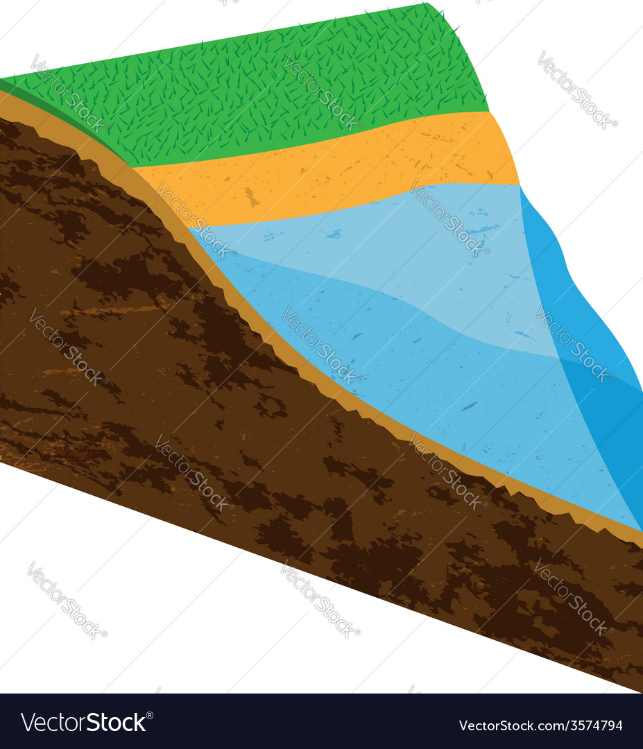 Earth slice with water source vector | Price: 1 Credit (USD $1)