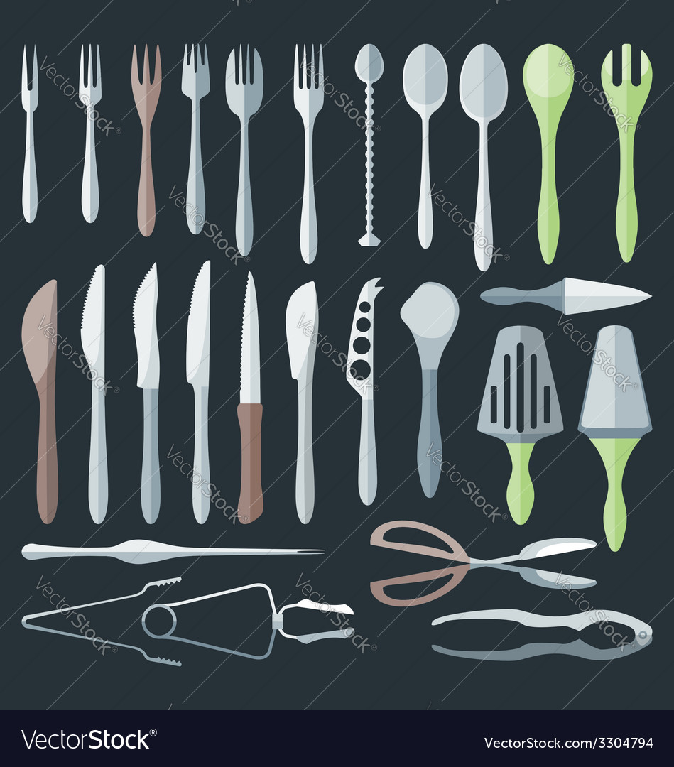 Flat color cutlery set vector | Price: 1 Credit (USD $1)