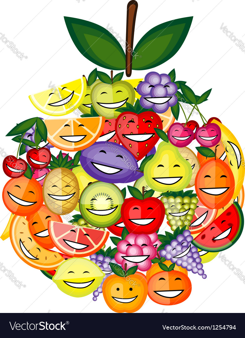 Funny fruit characters smiling together apple vector   Price: 1 Credit (USD $1)