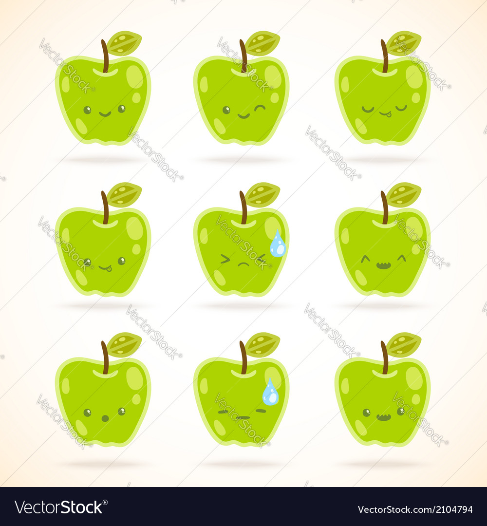 Green apple with many expressions vector | Price: 1 Credit (USD $1)