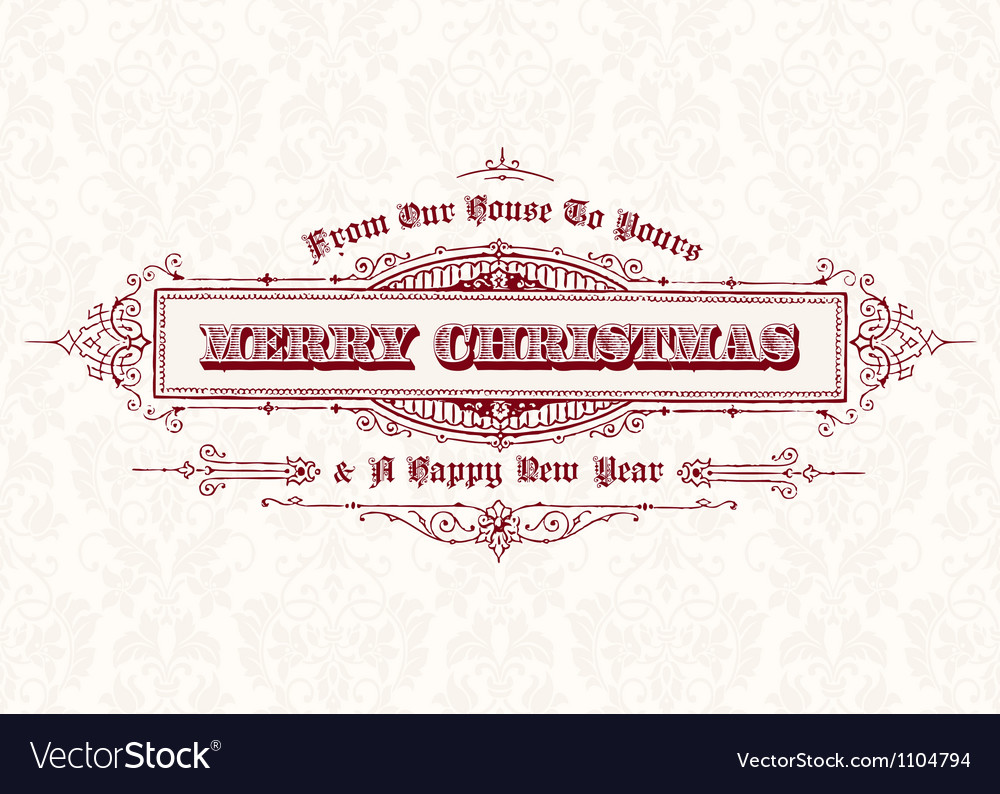 Merry christmas vintage header vector | Price: 1 Credit (USD $1)