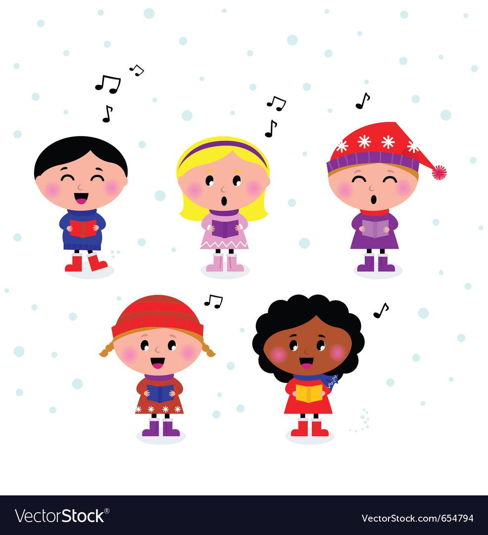 Multicultural caroling kids vector | Price: 1 Credit (USD $1)