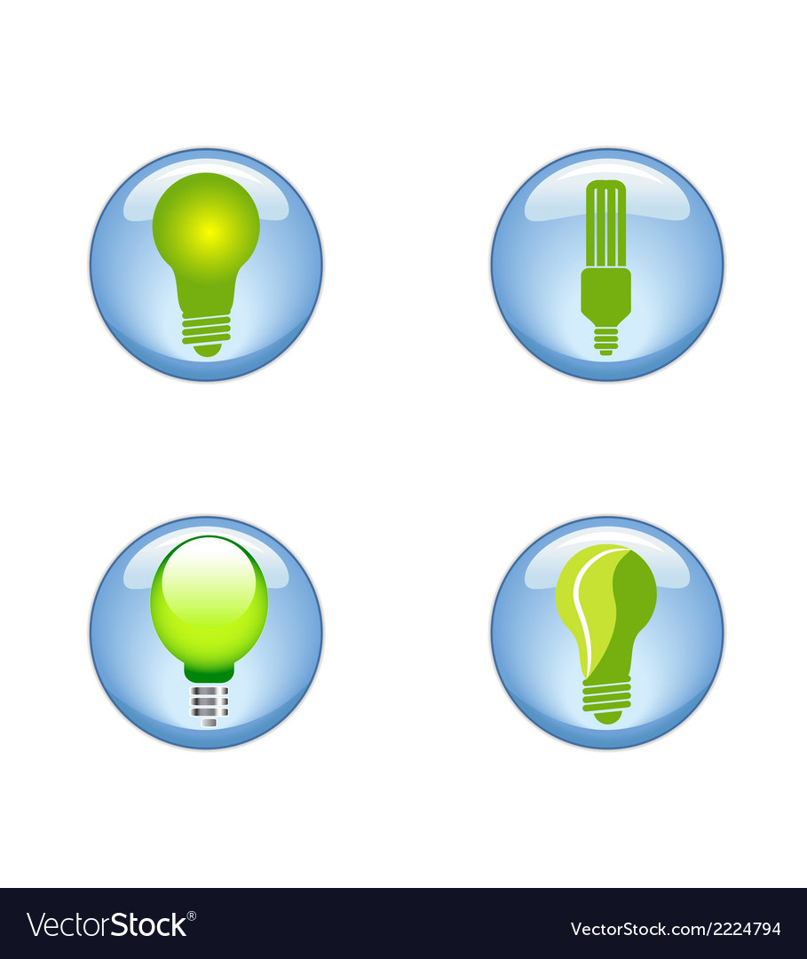 Set eco electric bulb symbols icons vector | Price: 1 Credit (USD $1)