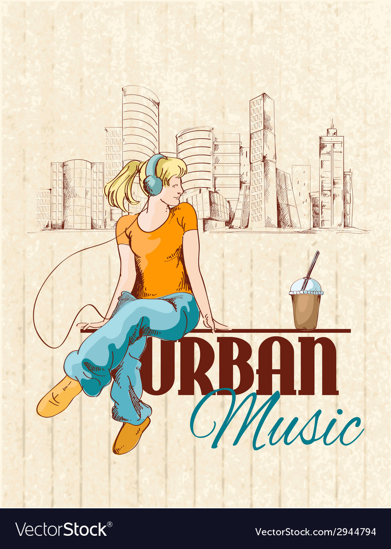 Urban music poster vector | Price: 1 Credit (USD $1)
