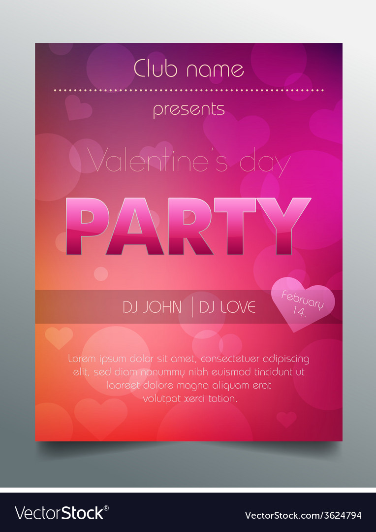 Valentines day party flyer template - purple vector | Price: 1 Credit (USD $1)