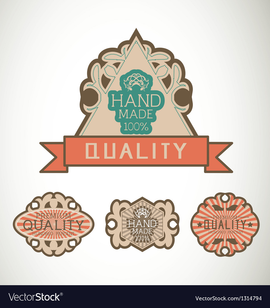 Vintage label style with four design element vector   Price: 1 Credit (USD $1)