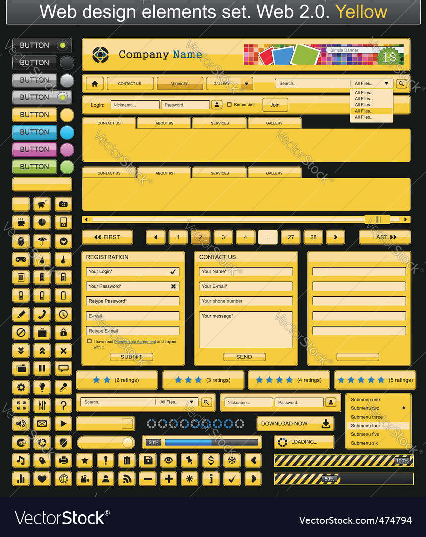 Web design elements yellow vector | Price: 3 Credit (USD $3)