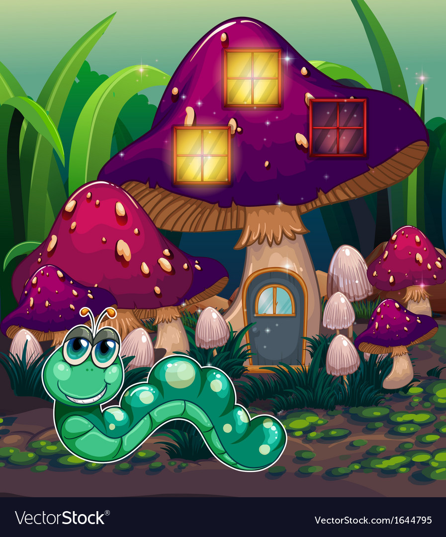 A worm near the mushroom house vector | Price: 3 Credit (USD $3)