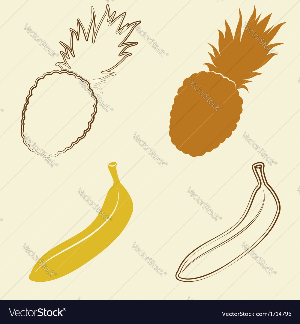 Banana and pineapple icons - vector | Price: 1 Credit (USD $1)