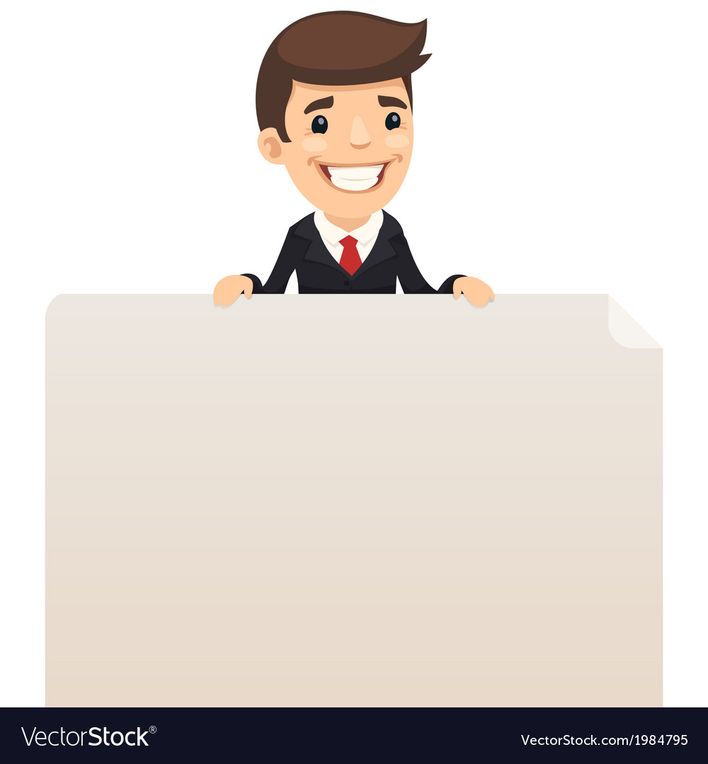 Businessman looking at blank poster on top vector | Price: 1 Credit (USD $1)