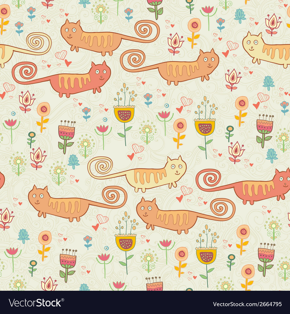 Cute childish seamless pattern with cats vector | Price: 1 Credit (USD $1)