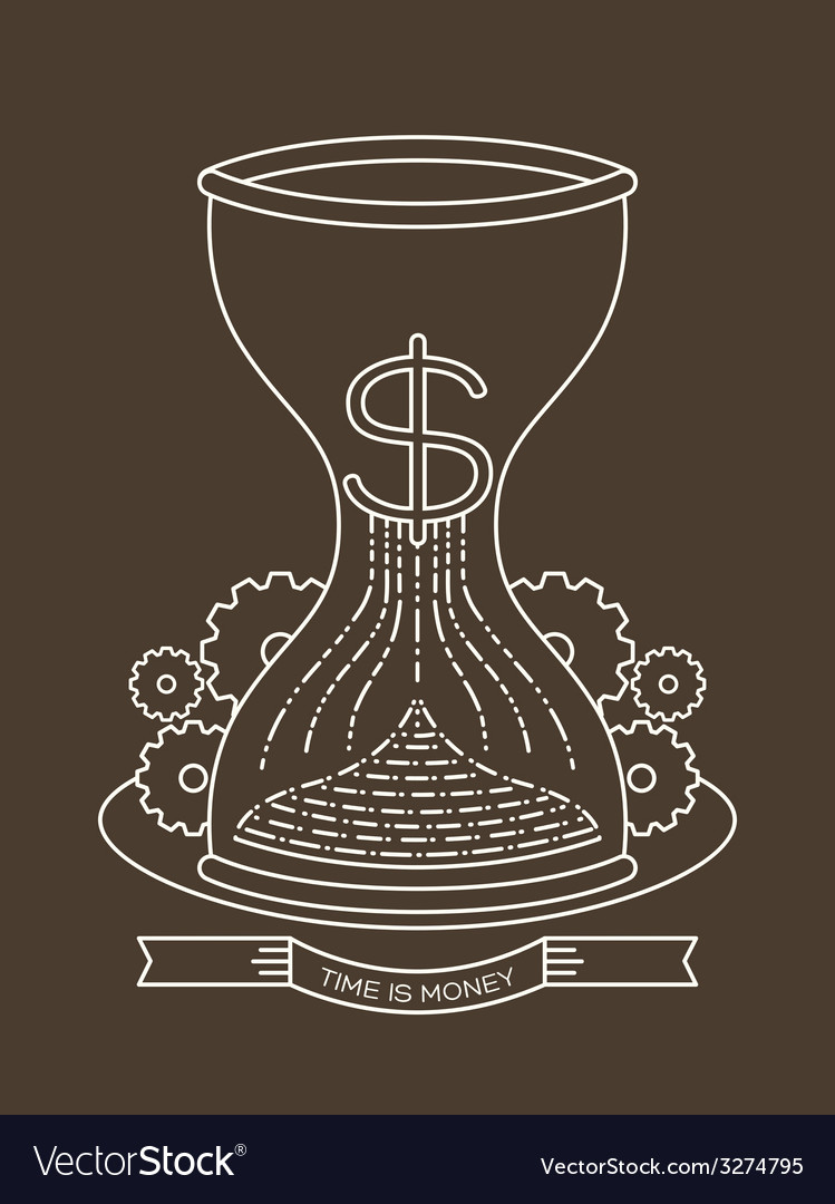 Hourglass sand clock with time is money concept vector   Price: 1 Credit (USD $1)