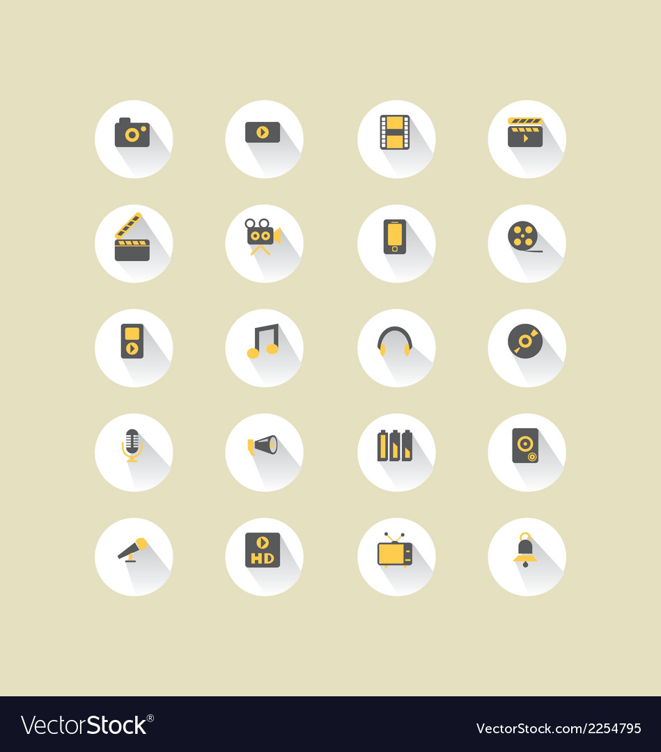 Long shadow media icons vector | Price: 1 Credit (USD $1)