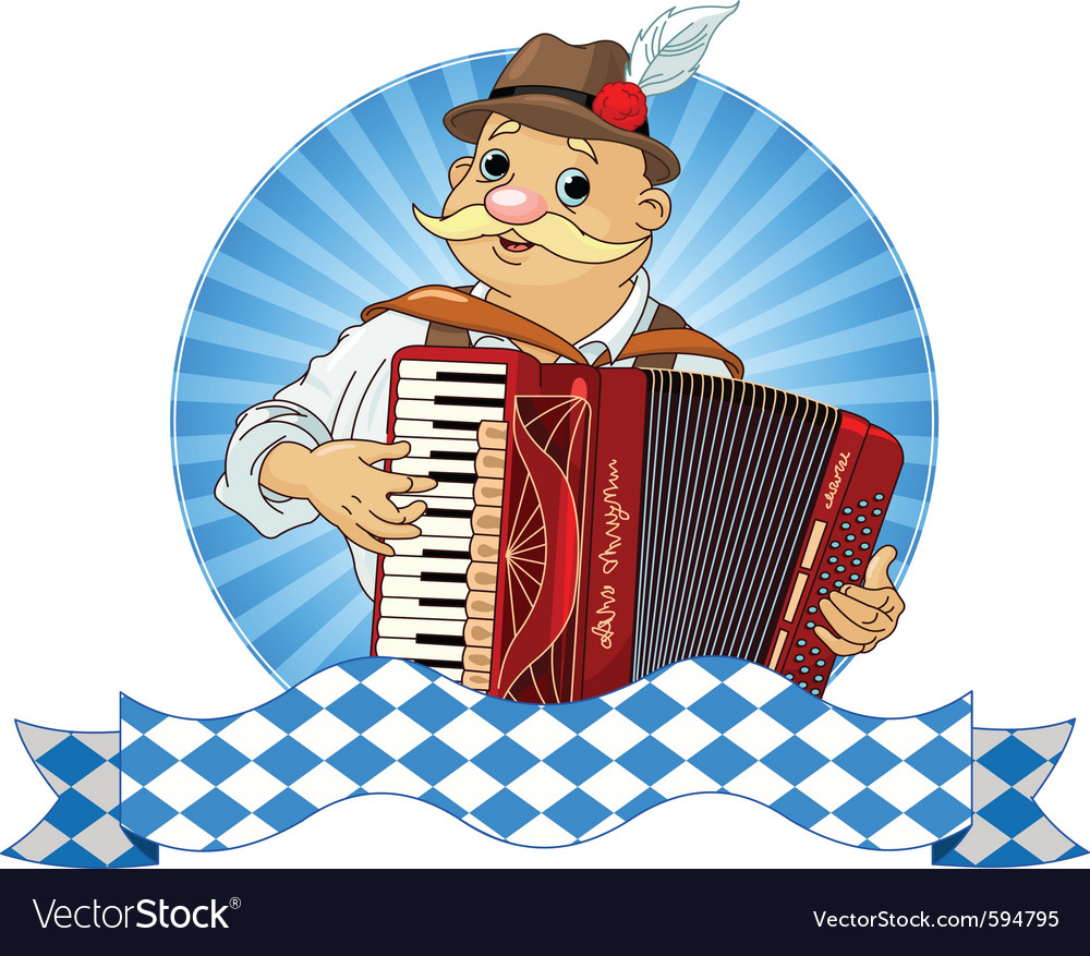 Oktoberfest accordion player with stripe for text vector | Price: 1 Credit (USD $1)