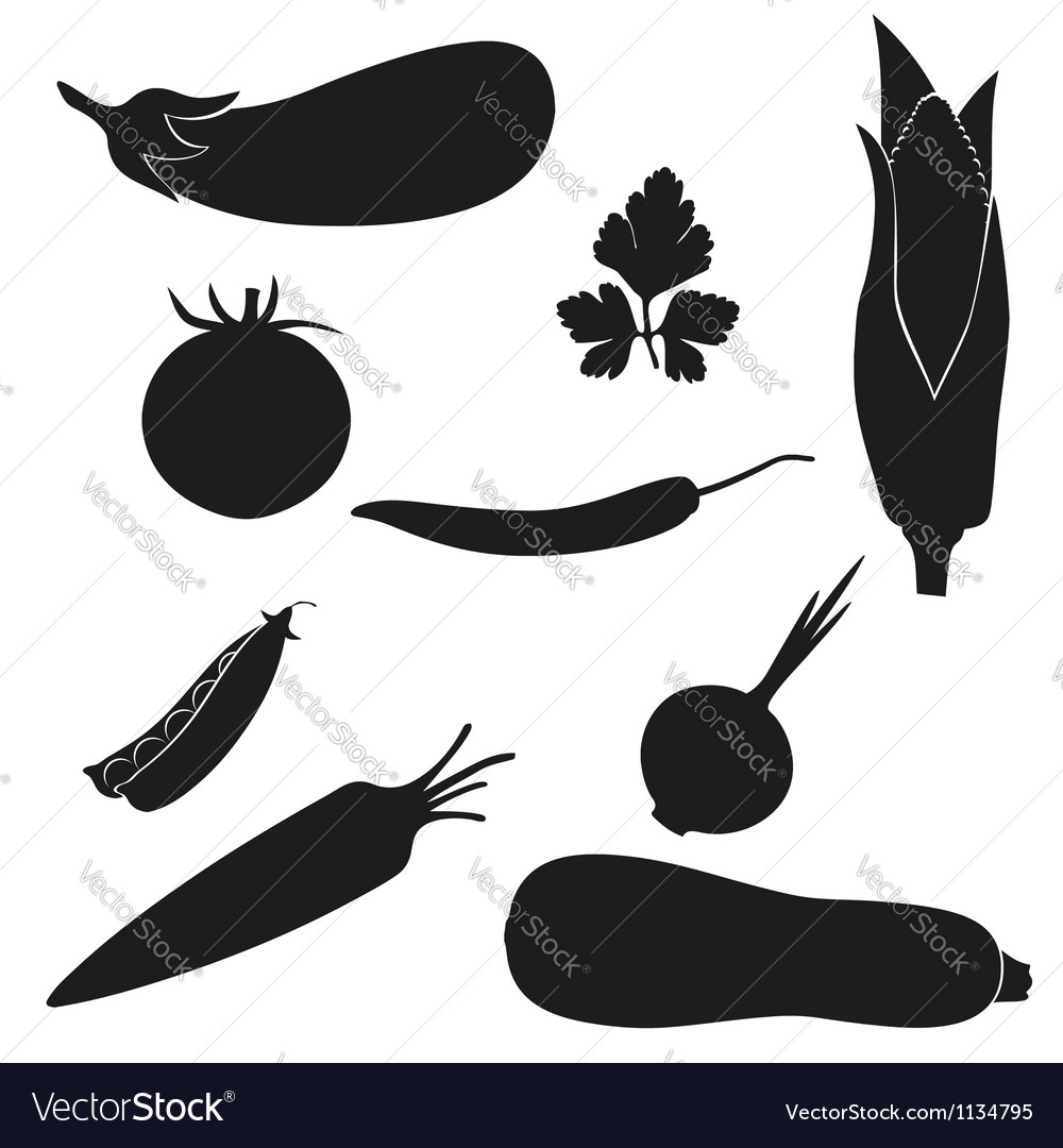 Set of icons vegetables black silhouette vector | Price: 1 Credit (USD $1)