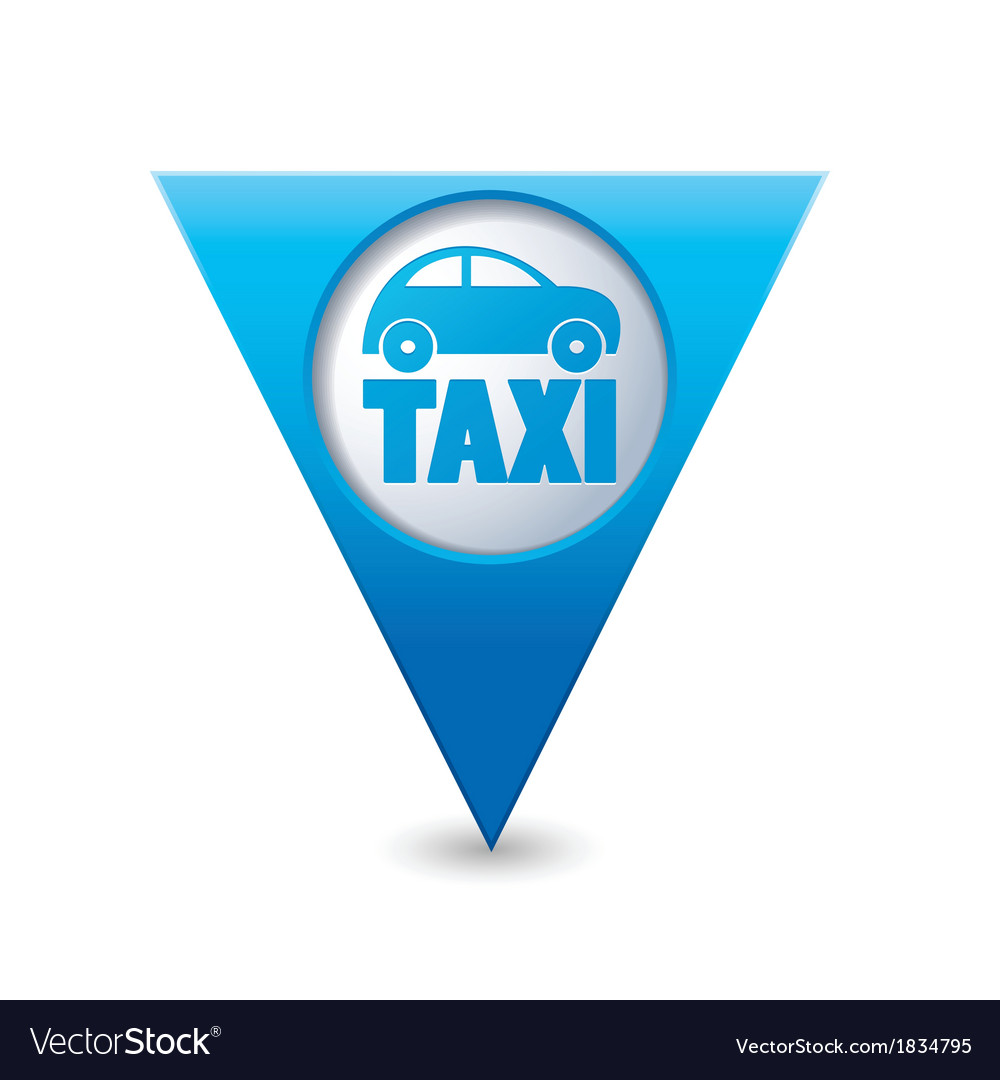 Taxi icon map pointer4 blue vector | Price: 1 Credit (USD $1)