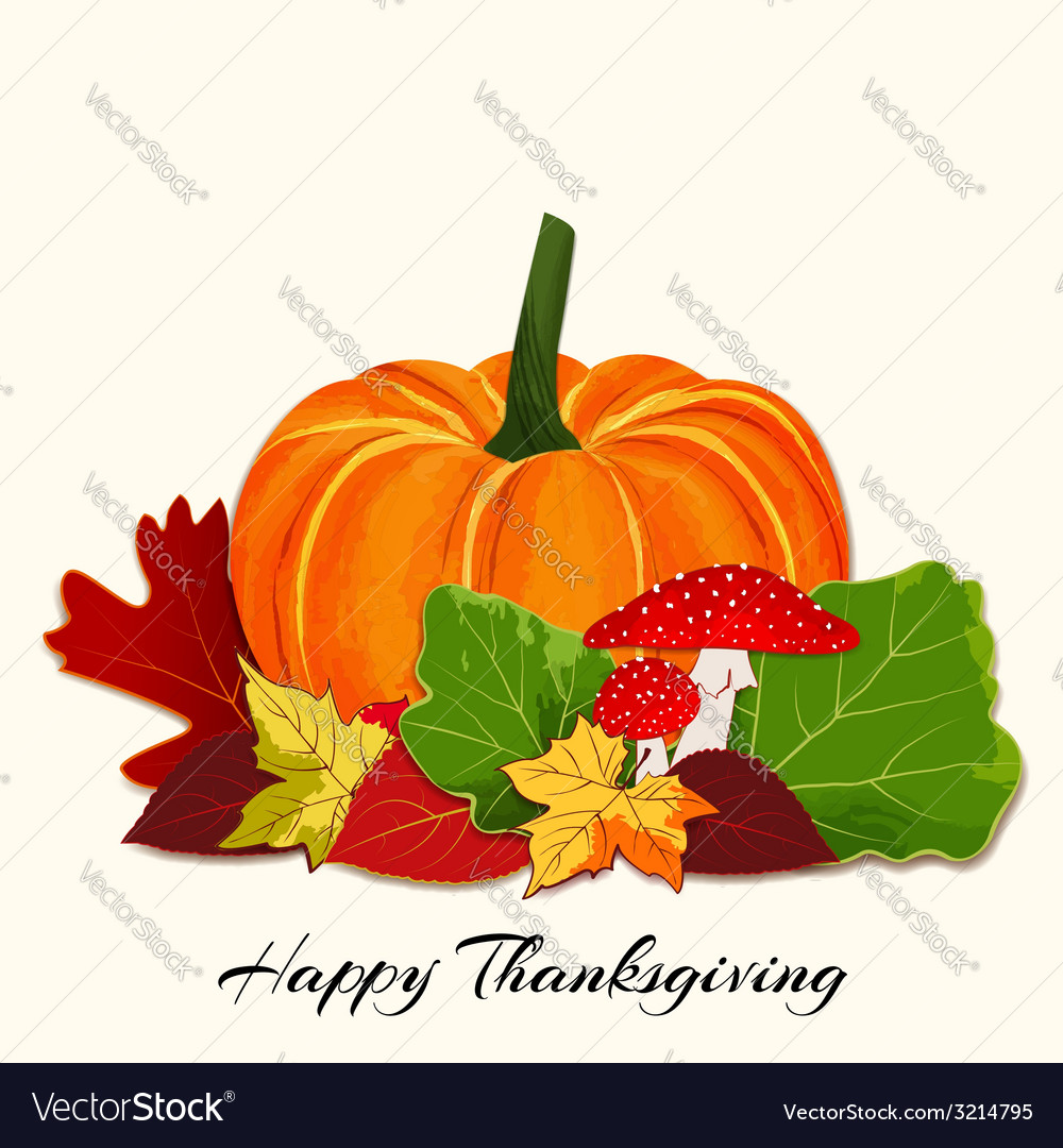 Thanksgiving colorful autumn leaf with pumpkin vector | Price: 1 Credit (USD $1)