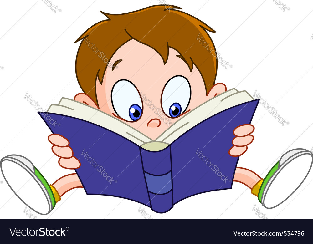 Boy reading book vector | Price: 1 Credit (USD $1)