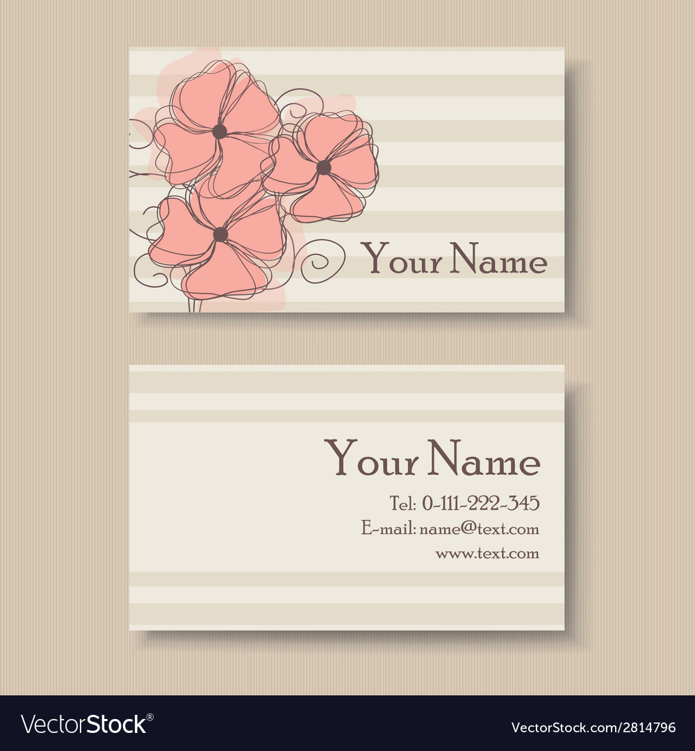 Business card with flowers vector | Price: 1 Credit (USD $1)