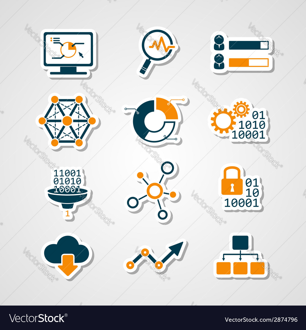 Data analytic icons paper cut set vector | Price: 1 Credit (USD $1)