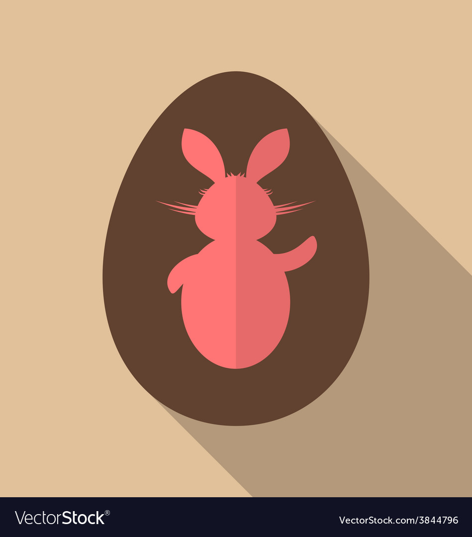 Easter bunny in chocolate egg trendy flat style - vector | Price: 1 Credit (USD $1)