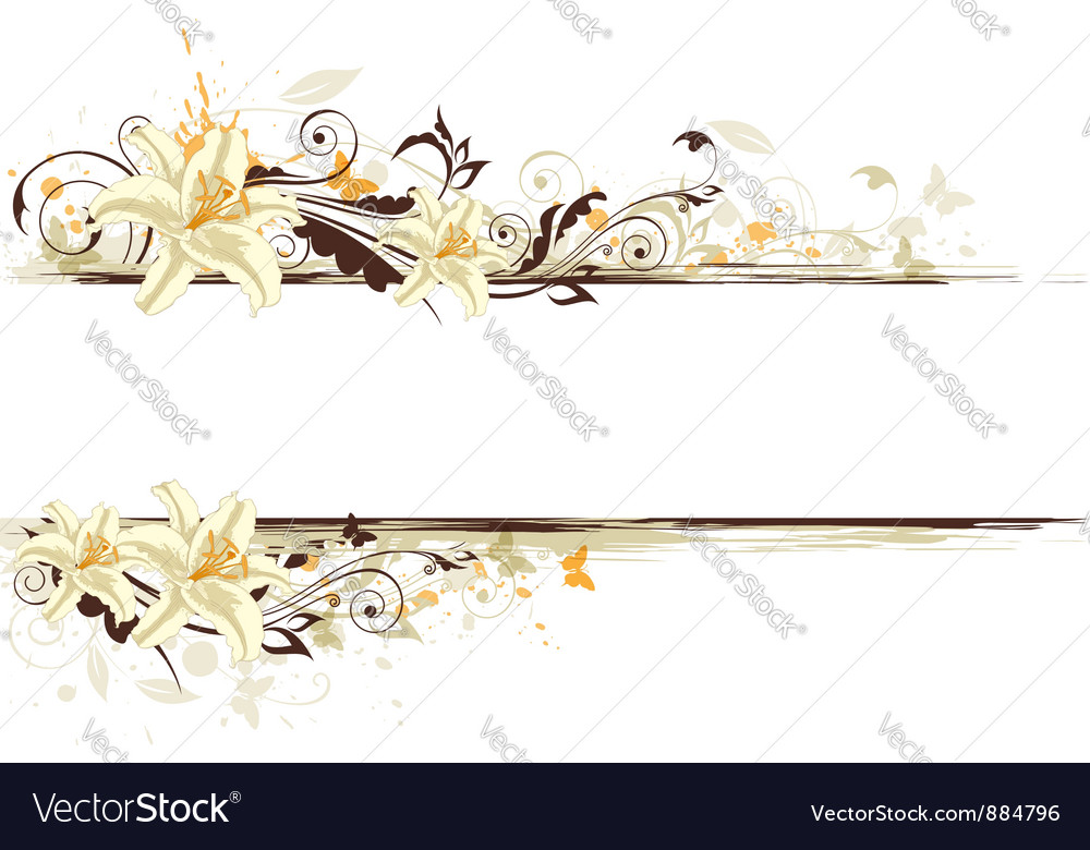 Floral banner lily vector | Price: 1 Credit (USD $1)
