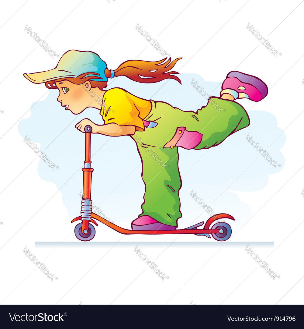 Girl riding scooter vector | Price: 3 Credit (USD $3)