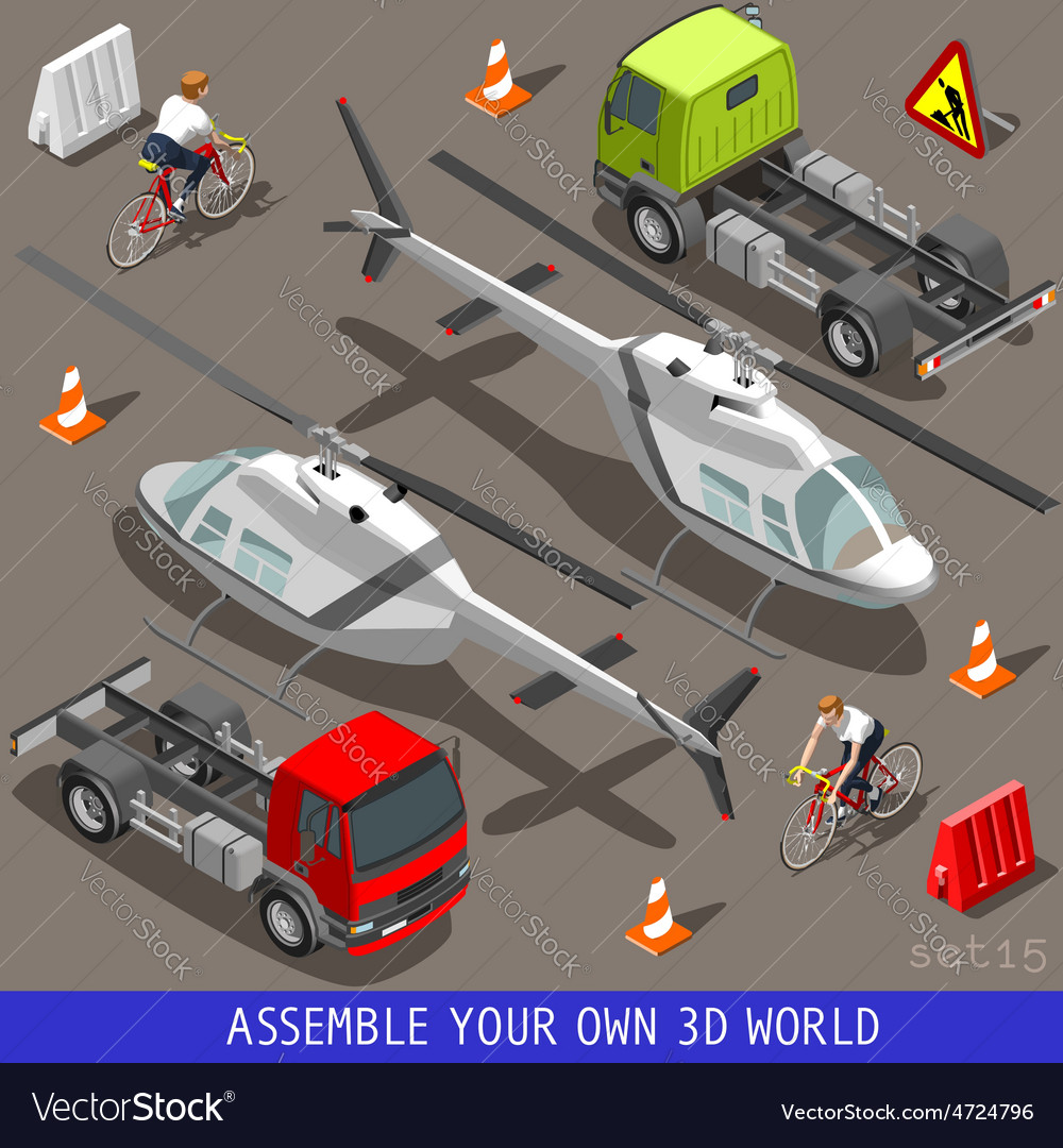 Isometric flat 3d vehicle aid carrier ride set vector | Price: 3 Credit (USD $3)