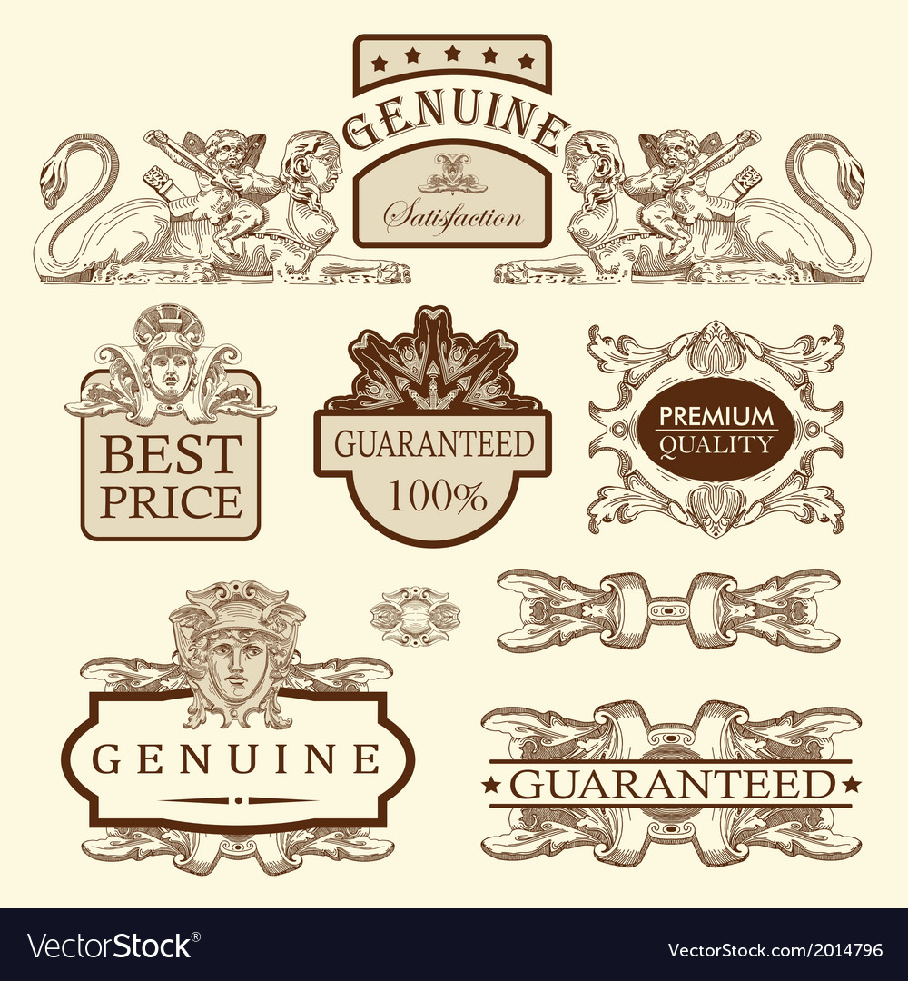 Luxury premium quality and guarantee label vector | Price: 1 Credit (USD $1)