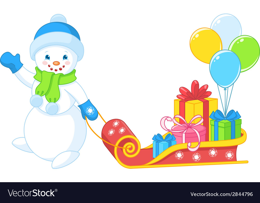 Snowman carries gifts vector | Price: 1 Credit (USD $1)